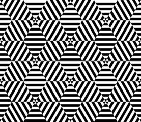 Black and white hexagon seamless pattern background