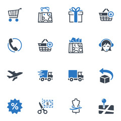 Shopping and E-commerce Icons Set 1 - Blue Series