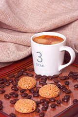 Espresso coffee with amaretti cookies