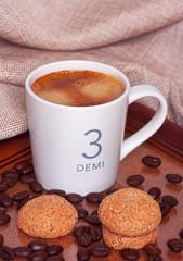 Espresso coffee with amaretti cookies