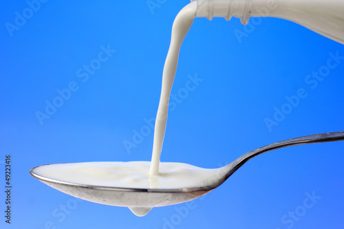 pouring milk to the spoon