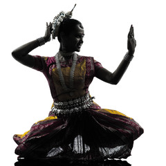indian woman dancer dancing  silhouette