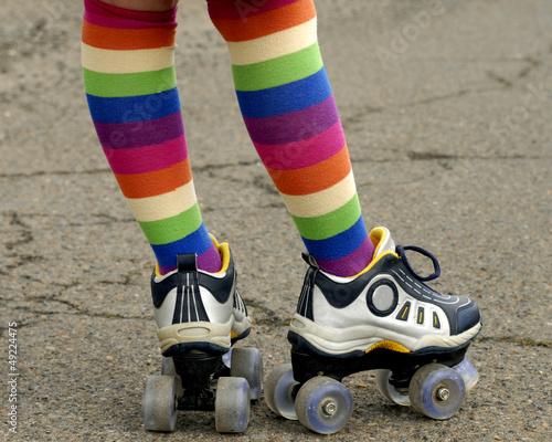 Leinwandbild Motiv Colorful Socks and Roller Skates