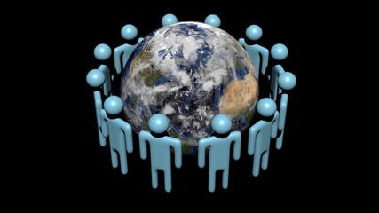 abstract people around rotating globe animation