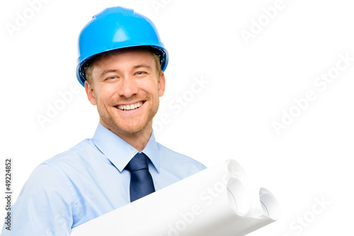 Happy young bussinessman architect on white background