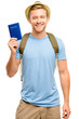 Happy young tourist man holding passport white background