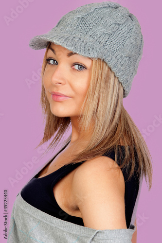Attractive woman with a grey wool bonnet