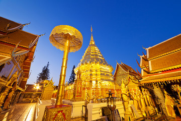 golden pagoda of Doi Suthep Chiangmai Thailand at twilight time