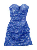 Puffed strapless pebbled blue dress