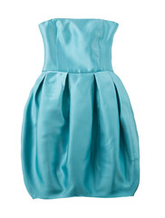 Turquoise satin puffed strapless dress