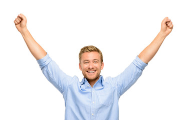 happy young man celebrating success on white background
