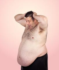 Surprised fat man
