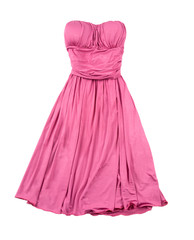 Pink evase strapless dress