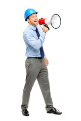 Businessman shouting with megaphone on white background
