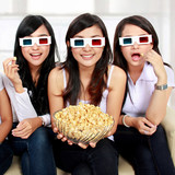 girl friends watching movie in 3d