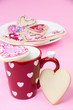 Valentine coffee cup with cookies