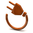Orange electric plug icon