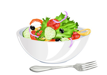 Fresh vegetarian vegetable salad on a white background