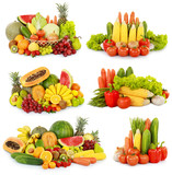 collection of delicious fresh fruits and vegetables