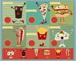 Set of Retro fast food menu funny cartoon character