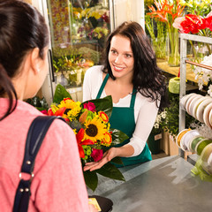 colorful bouquet florist woman selling customer flower