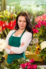 Young woman florist flower shop owner business
