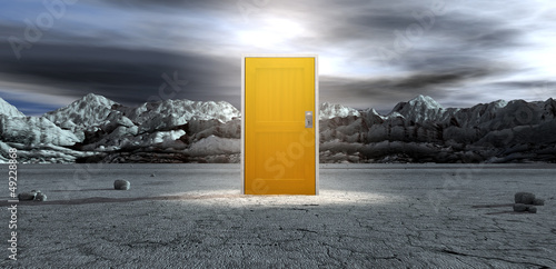 Barren Lanscape With Closed Yellow Door