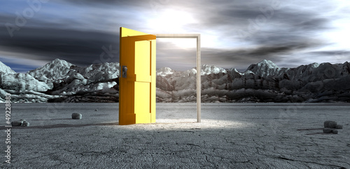 Barren Lanscape With Open Yellow Door