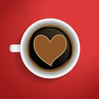 Valentines heart in coffee cup.