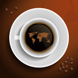 Fototapety World map in coffee cup.