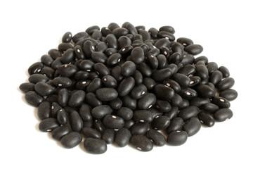 Black haricot beans (Preto) on a white background