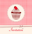 Label with cupcake on pink seamless textile background.