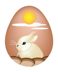 An Illustration of Rabbit Painted on Easter Eggs