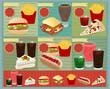 Set of Retro fast food menu, Vector template Design