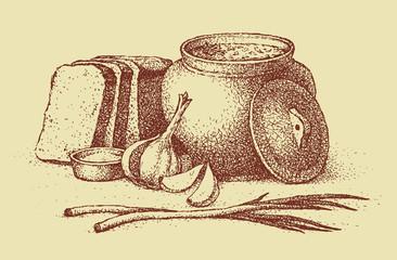 Vector sketch Ukrainian lunch. Warm soup, bread, garlic, onion