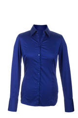 Hollow blue blouse with long sleeves, isolated on white backgrou