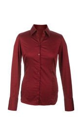 Hollow red blouse with long sleeves, isolated on white backgroun