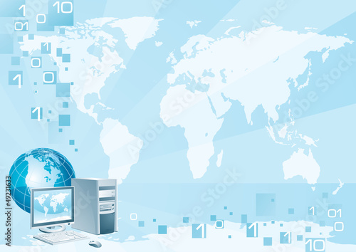 Computer world. Computer, globe and map
