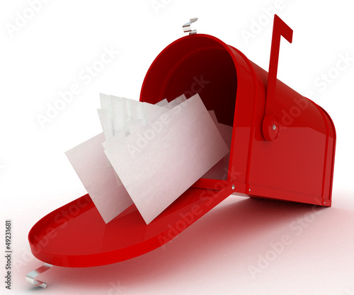 Red mail box with heap of letters. 3D illustration