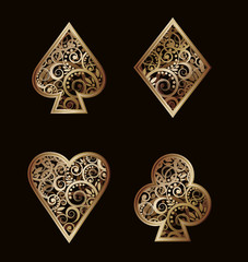 Set Poker golden elements , vector illustration