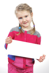 girl standing with empty horizontal blank