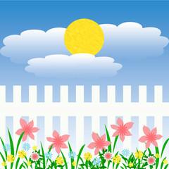 sunny flower garden
