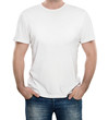 Man wearing blank t-shirt isolated on white background