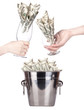 Bucket with money and hand making toast