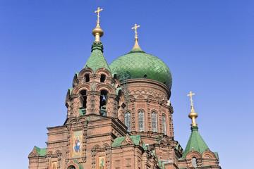 Sophia Orthodox Church Harbin, China against blue sky