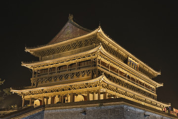 Illuminated ancient Drum Tower Xian, China at night