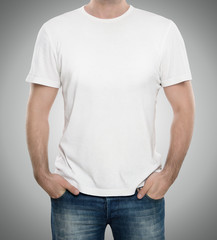 Man wearing blank t-shirt with copy space