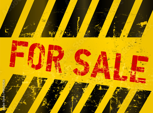 for sale sign, grungy, industrial style