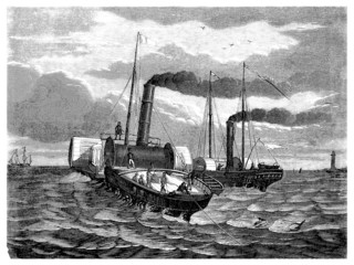 Laying Transatlantic Cable under Water - 19th century