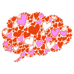 hand-drawn bubble cloud heart shaped thought